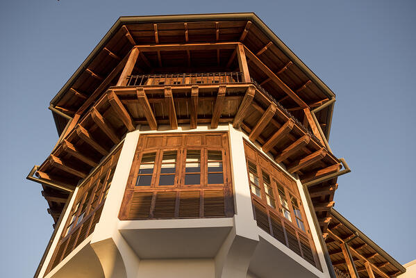 Wood eaves and windows in the Monkey Tower